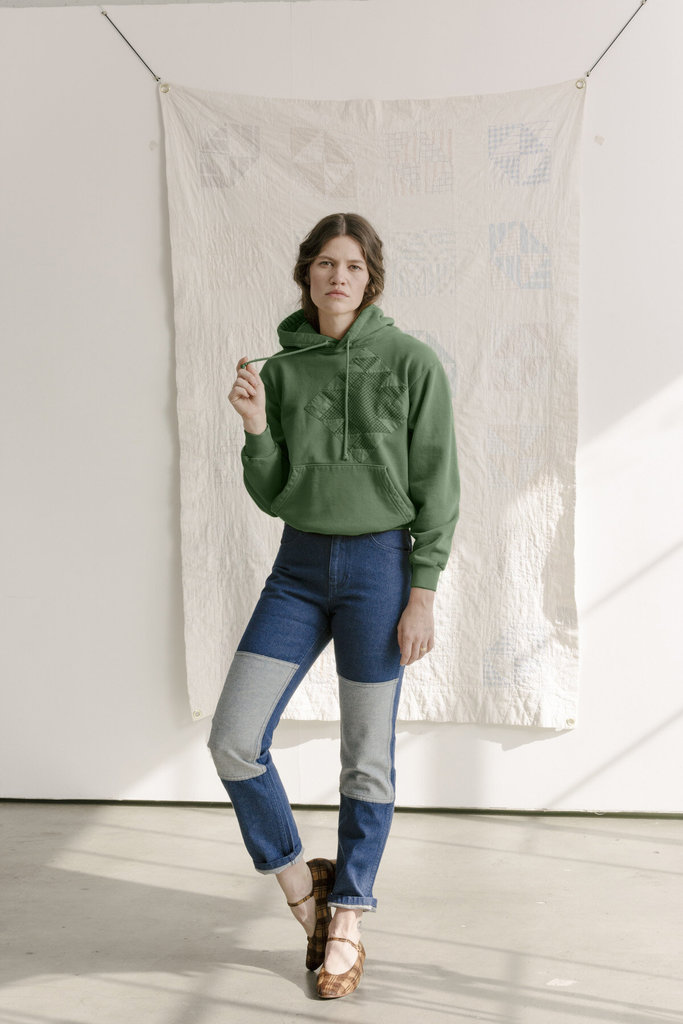 Carleen Quilt Patch Hoodie Green - Size S