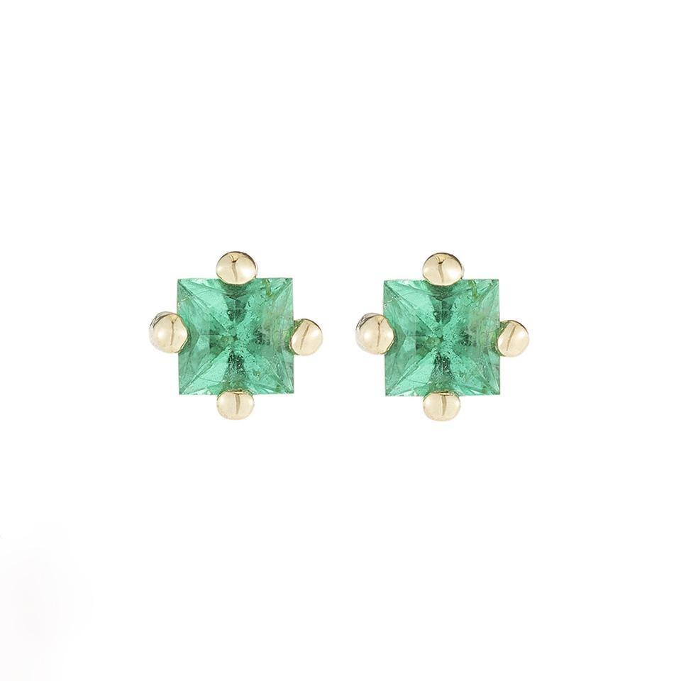 Jennie Kwon Emerald Princess Cut Studs 14KT gold