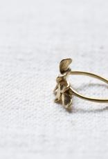 864 Leaves Ring Brass