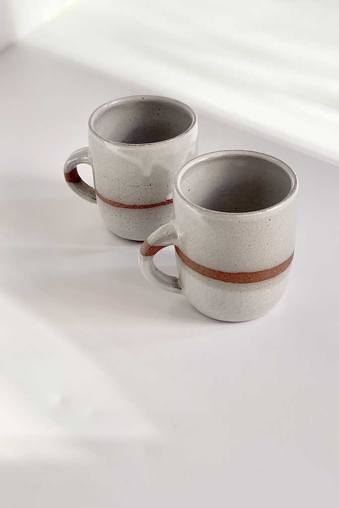 Alice Cheng Studio Striped white mugs