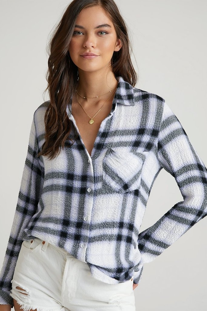 Bella Dahl Pocket Button Down White Plaid