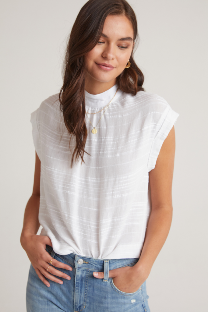 Bella Dahl Cap sleeve Button Back Blouse White
