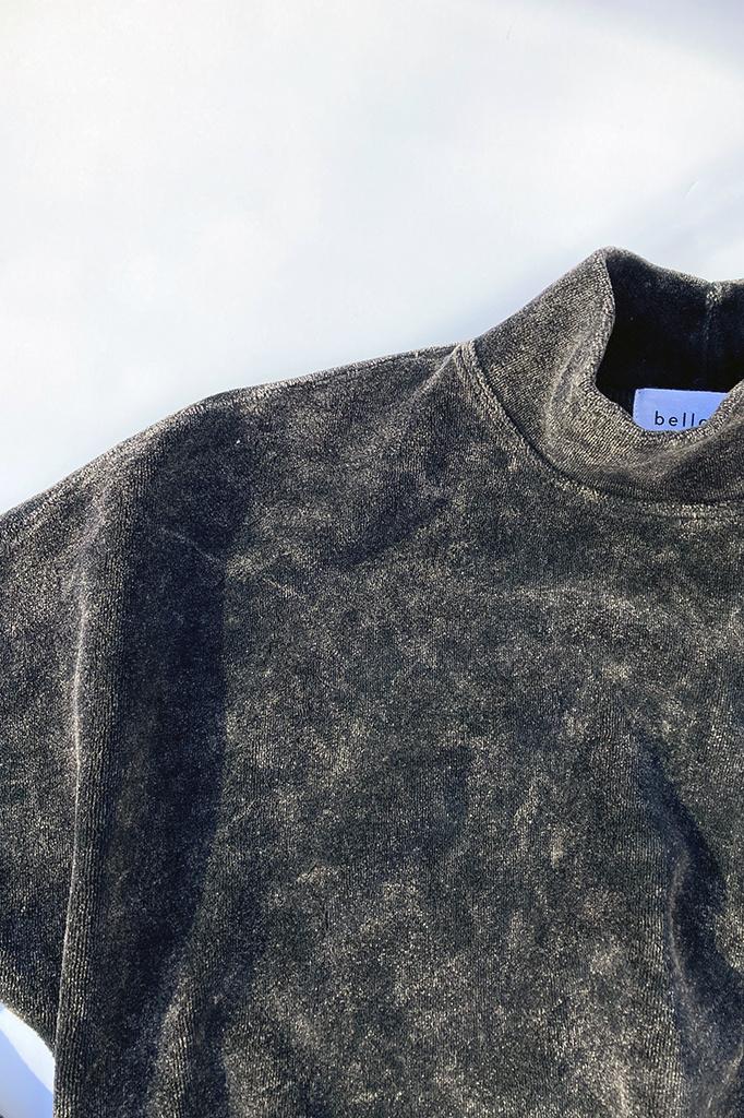 Bella Dahl Cropped Mock Neck Velour Pullover