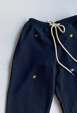 The Great The Great Embroidered Cropped Sweatpant Navy Floral