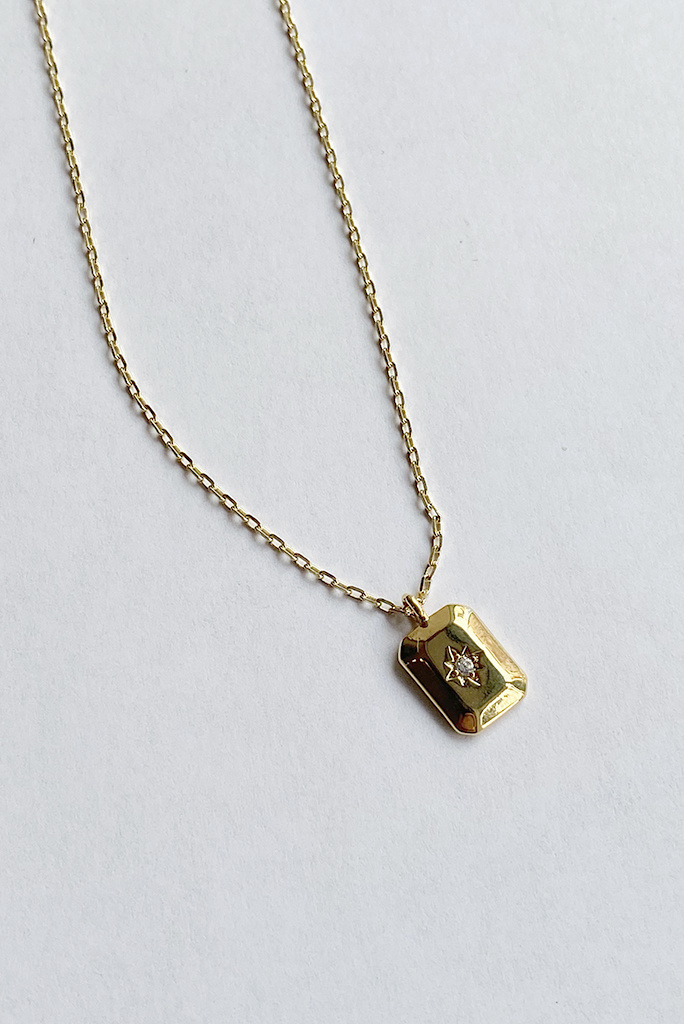 shashi Petite Starburst Tag Necklace Gold Fill