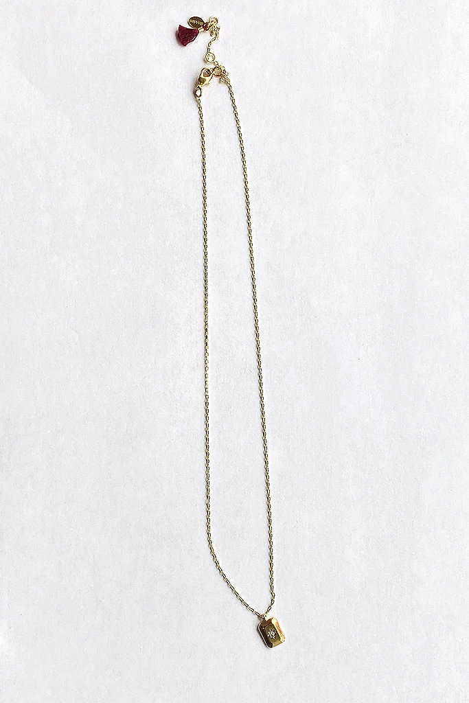 shashi Petite Starburst Tag Necklace Gold Fill
