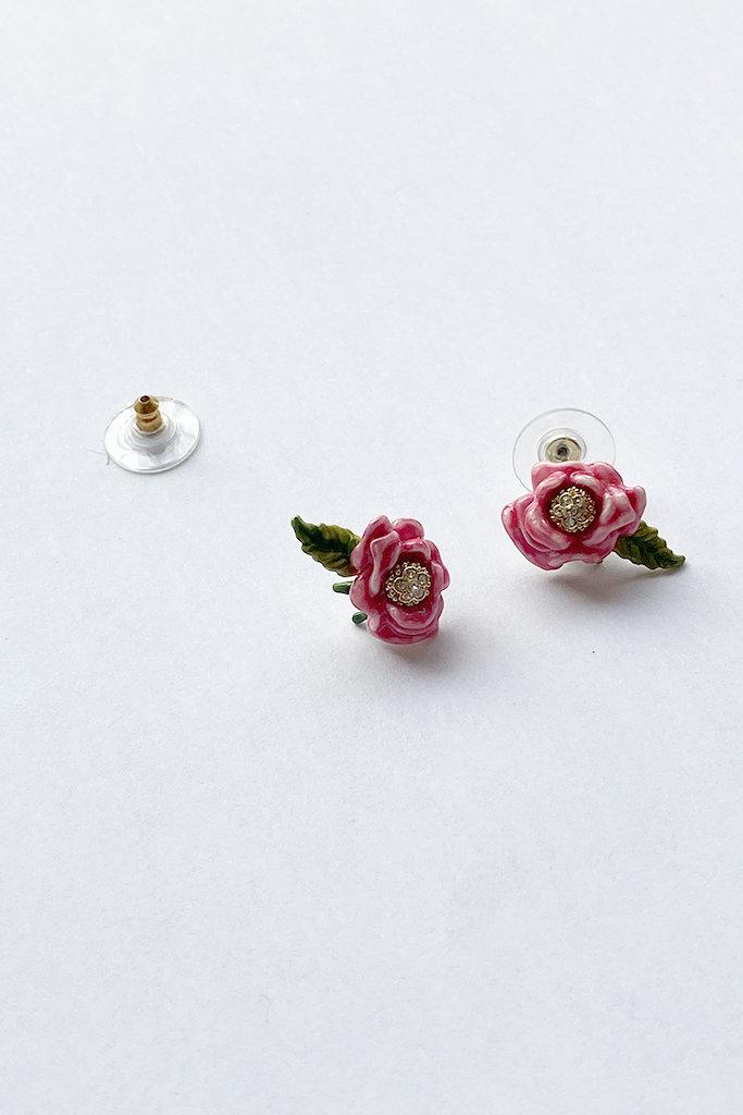 Les Nereides Pink & Green Flower Studs