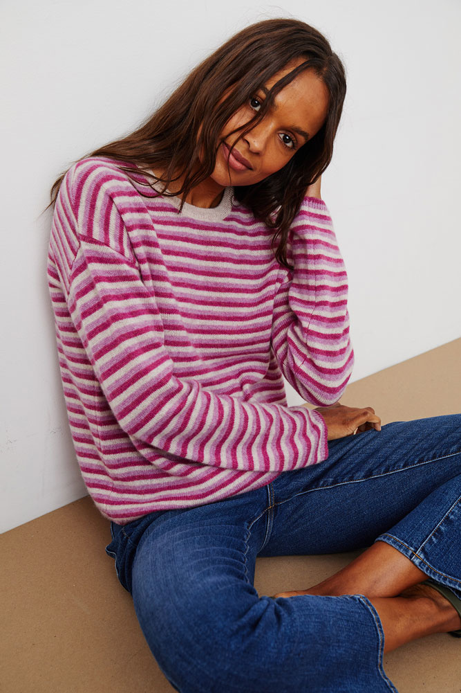 Velvet Cadie Pink Striped Cashmere Sweater - Size M