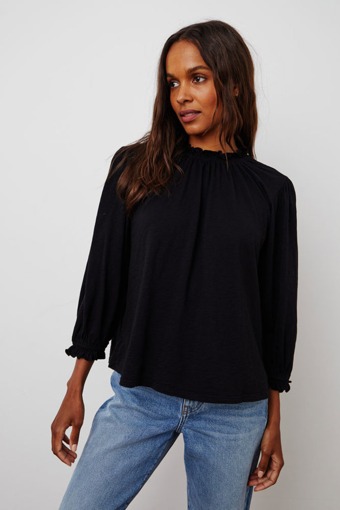 Velvet Barbara Black High Neck Ruffle Top - Size XS
