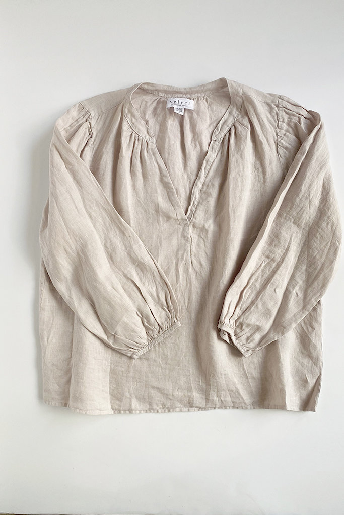 Velvet Ileana Open Neck Linen Top - Size L