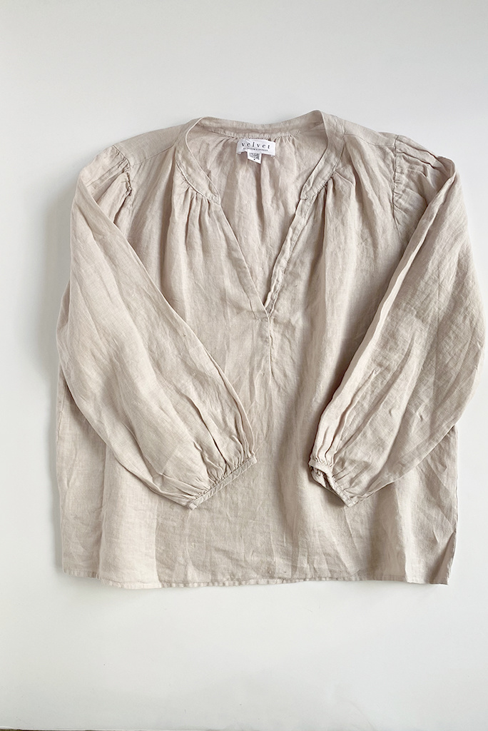 Velvet Ileana Open Neck Linen Top