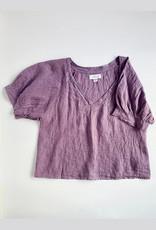 Velvet Adley Purple Linen V-Neck  Top