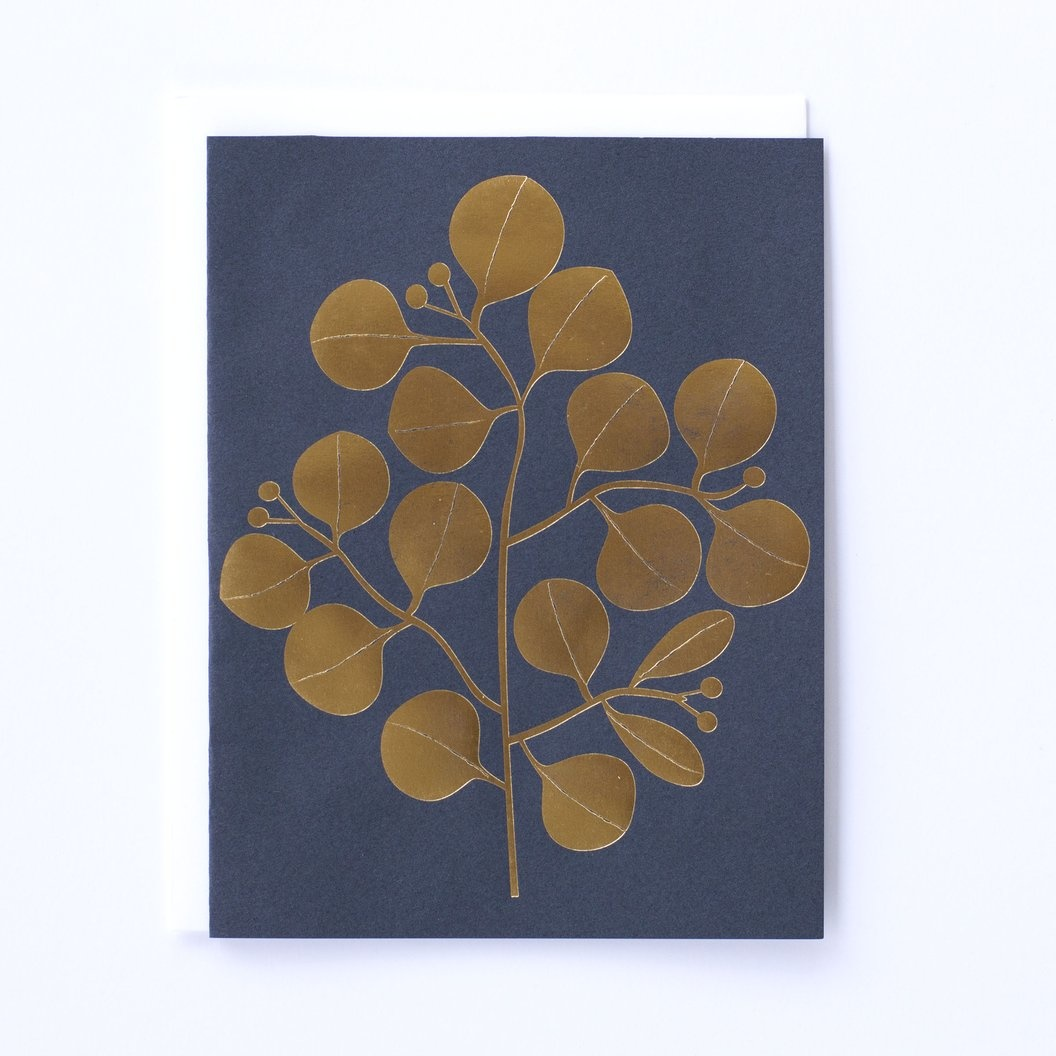 Banquet Golden Leaves Navy Blue Note Card