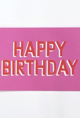 Banquet Pink and Red Happy Birthday Note Card