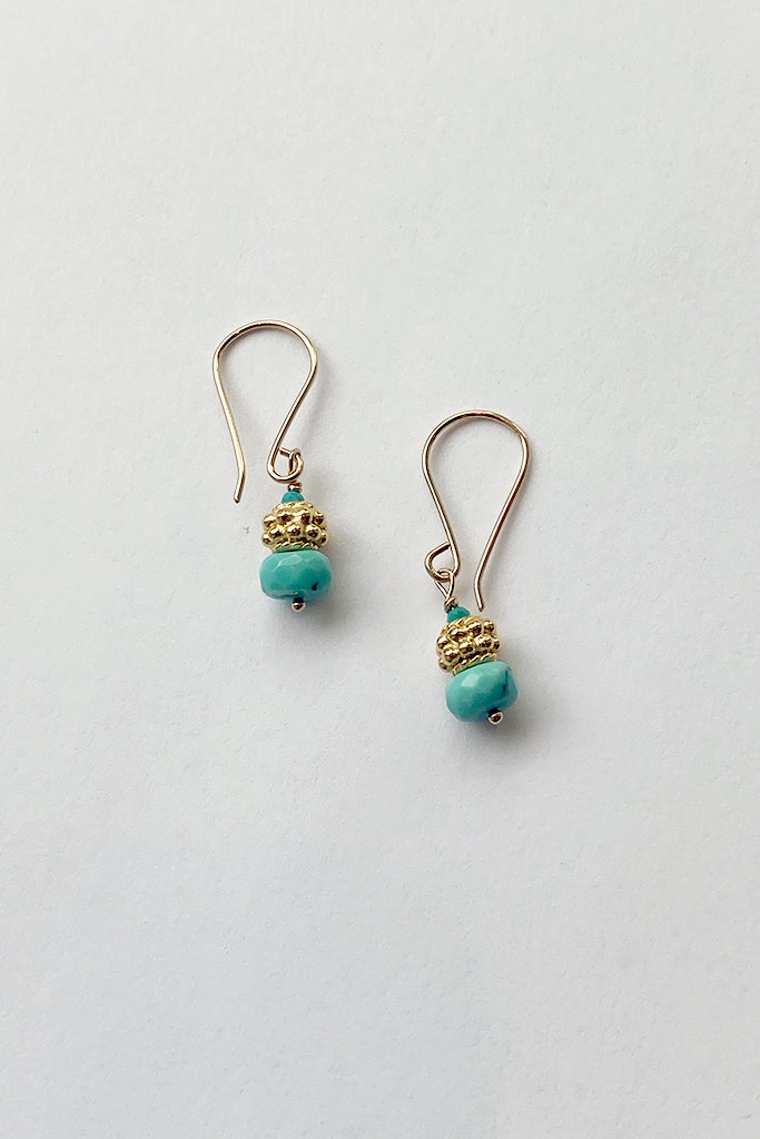 Debbie Fisher Turquoise & Gold Beaded Earring