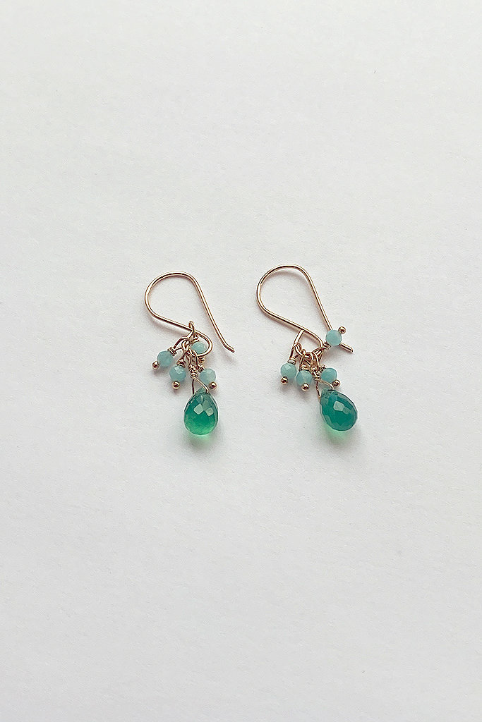 Debbie Fisher Green Onyx and Amazonite Cluster Earrings
