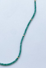 Debbie Fisher Green Onyx and Gold Vermeil Bead Necklace