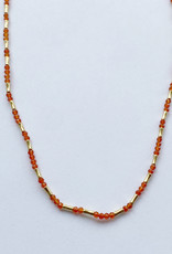 Debbie Fisher Carnelian and Gold Vermeil Bead Necklace