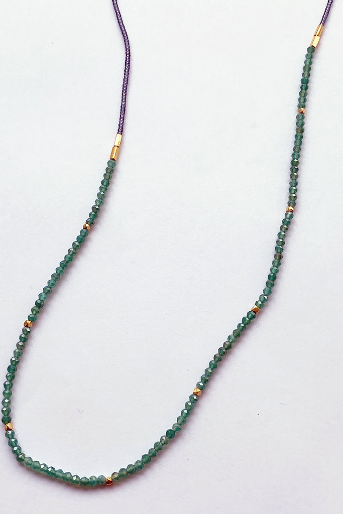 Debbie Fisher Grey Seed with Green Onyx and Gold Vermeil Bead Necklace