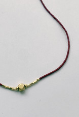 Debbie Fisher Burgundy Glass and Gold Vermeil Bead Necklace