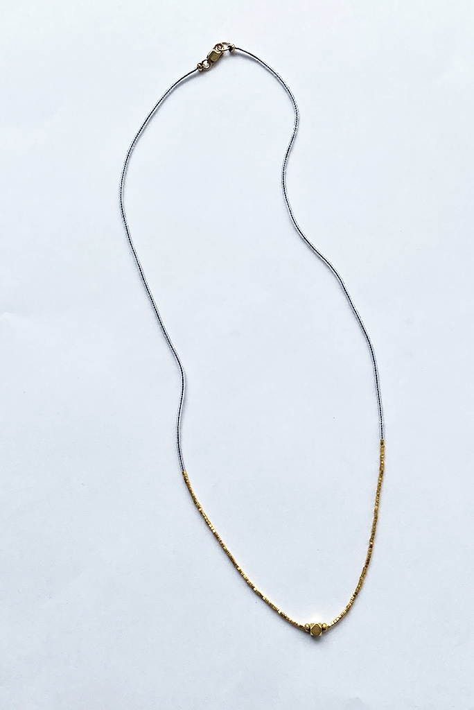 Debbie Fisher Clear Seed Bead and Gold Vermeil Bead Necklace