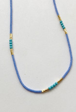 Debbie Fisher Seed with Turquoise and Gold Vermeil Bead Necklace