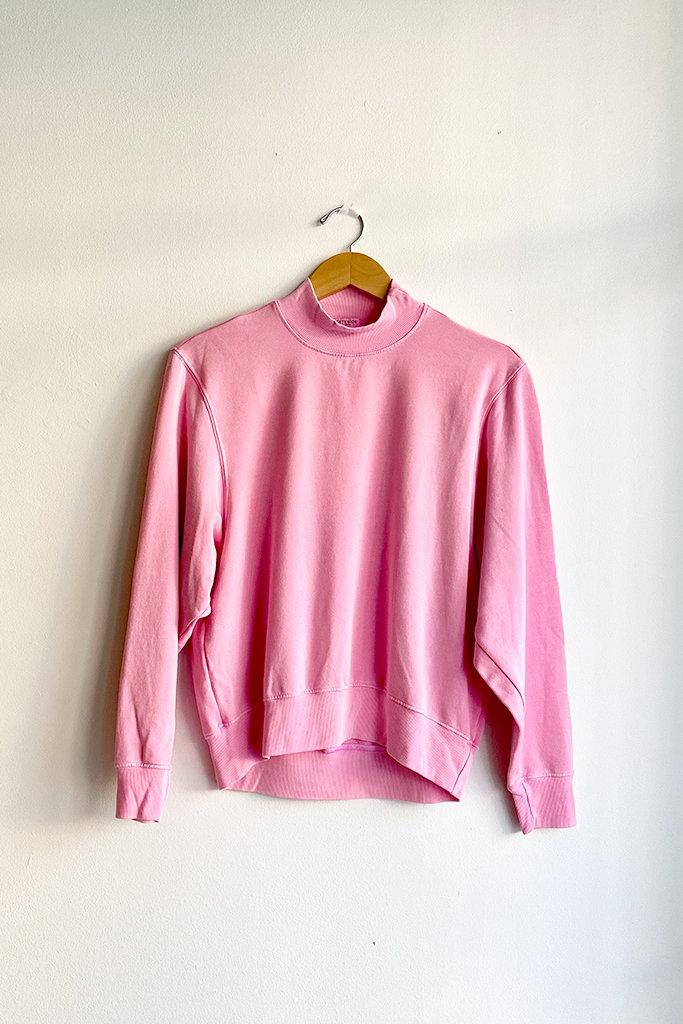 Stateside Viscose Fleece Mock Neck Sweatshirt Neon Pink