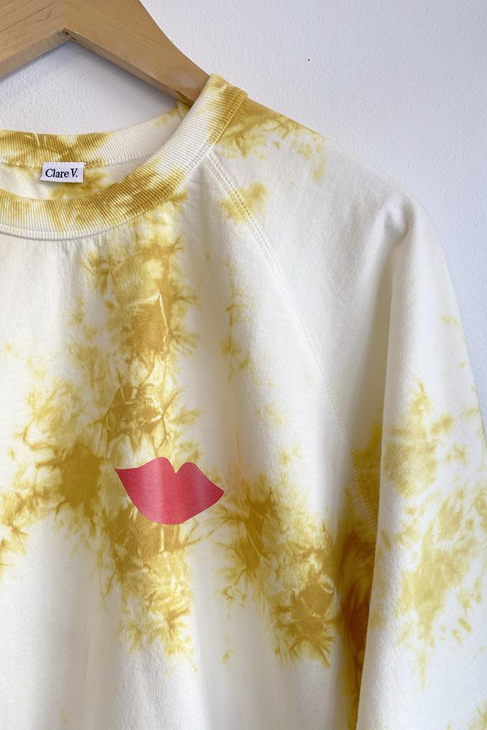 Clare V Marigold  Tie Dye Lips Sweatshirt