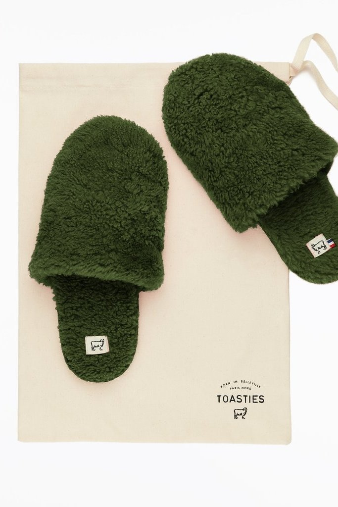 Toasties Sheepskin Army Green Hotel Slippers - Size L