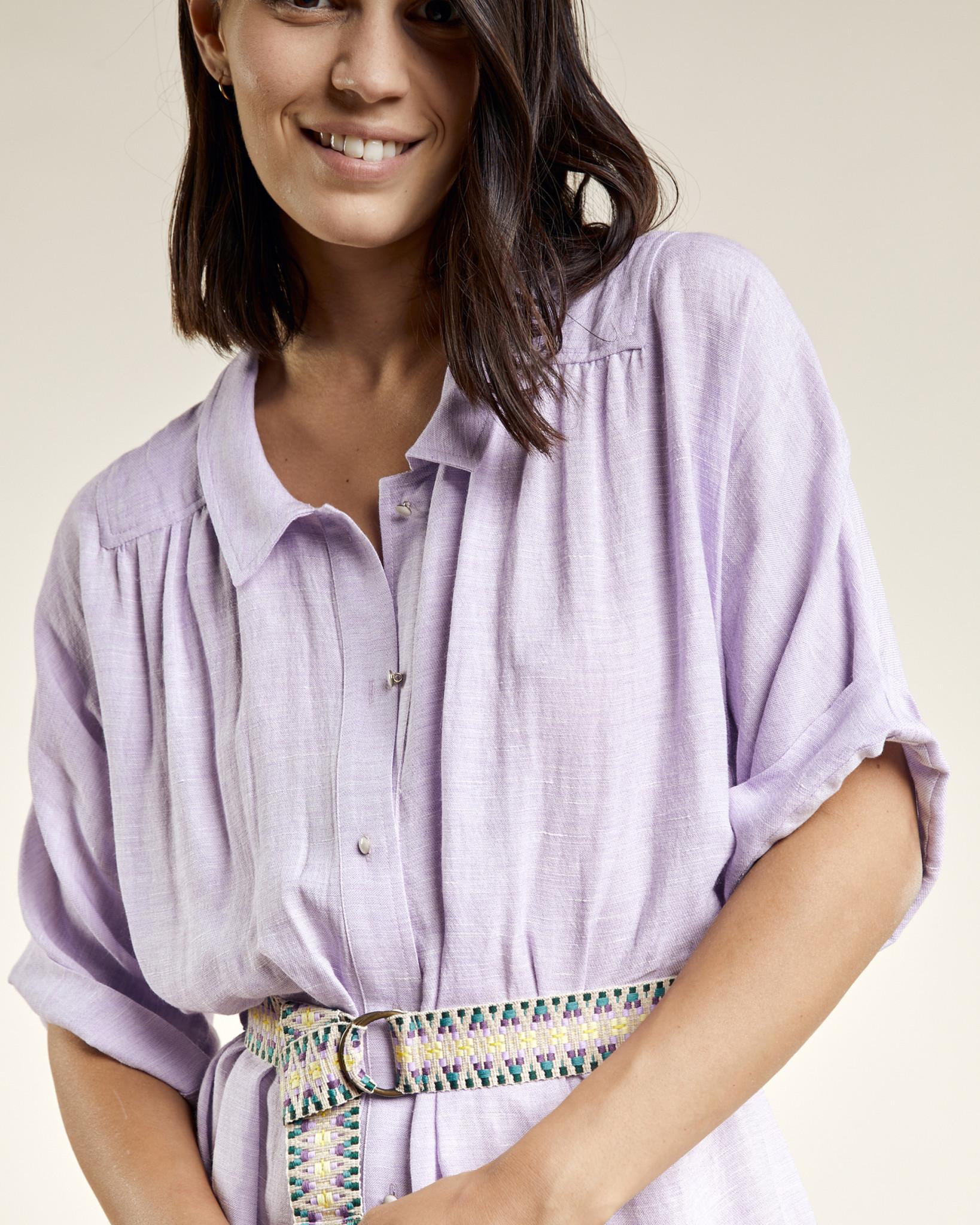 Sessun Lumio Belted Linen Blend Shirt Dress