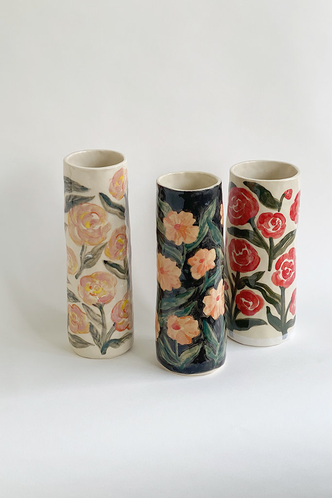 Alice Cheng Studio Tall Hand Painted Rose Vases
