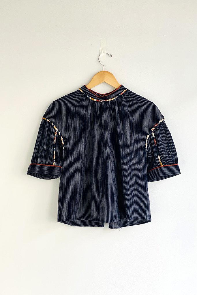 Sessun Romanorte Puff Sleeve Button Back Blouse