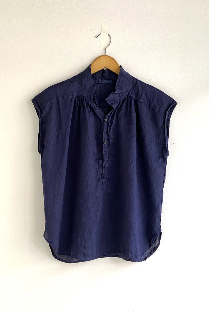 CP Shades Claire Navy Linen Blouse - Size M