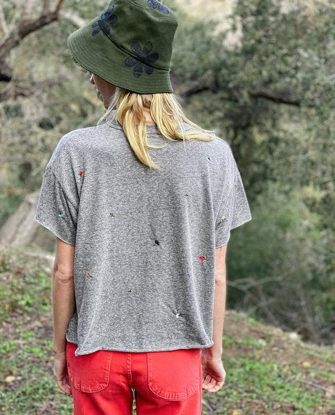 The Great The Crop Tee w/ Tossed Floral Embroidery Heather Grey