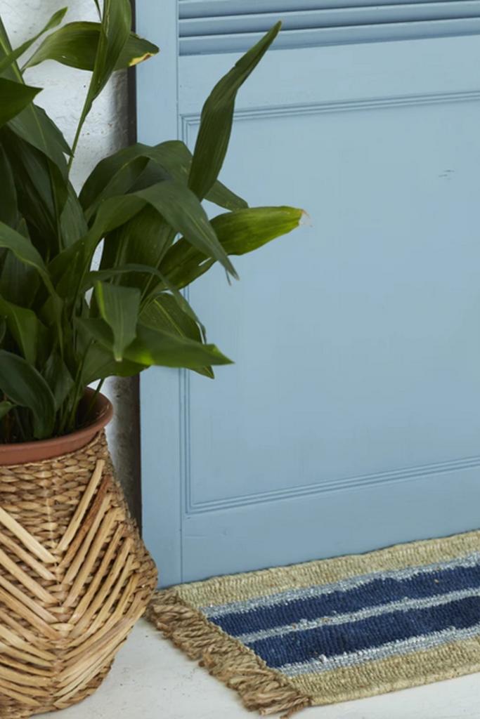 Langdon Ltd Cobalt Striped Doormat