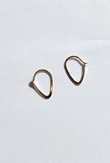 Melissa Joy Manning Extra Small Leaf Hoop Earrings 14kt Gold