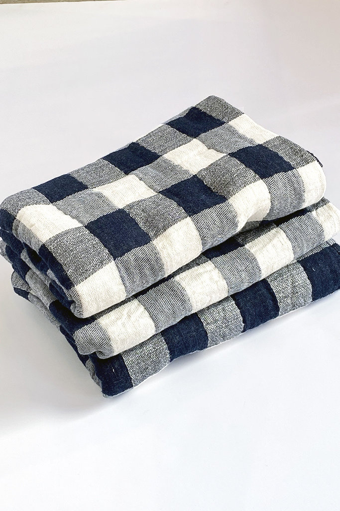 Morihata Vintage Check Bath Towel Navy