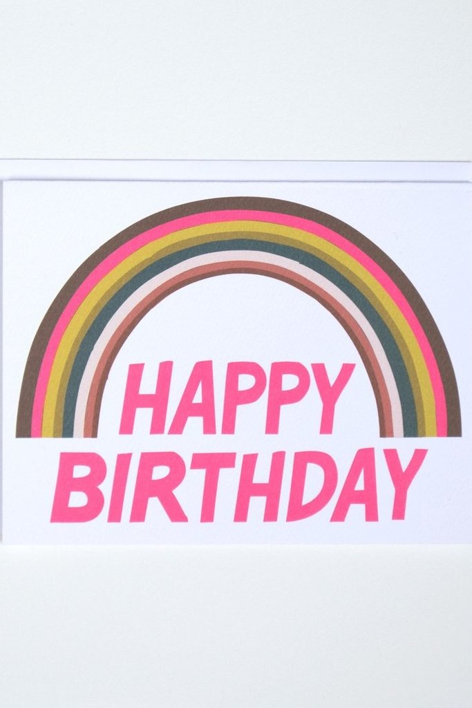 Banquet Happy Birthday Neon Rainbow Note Card