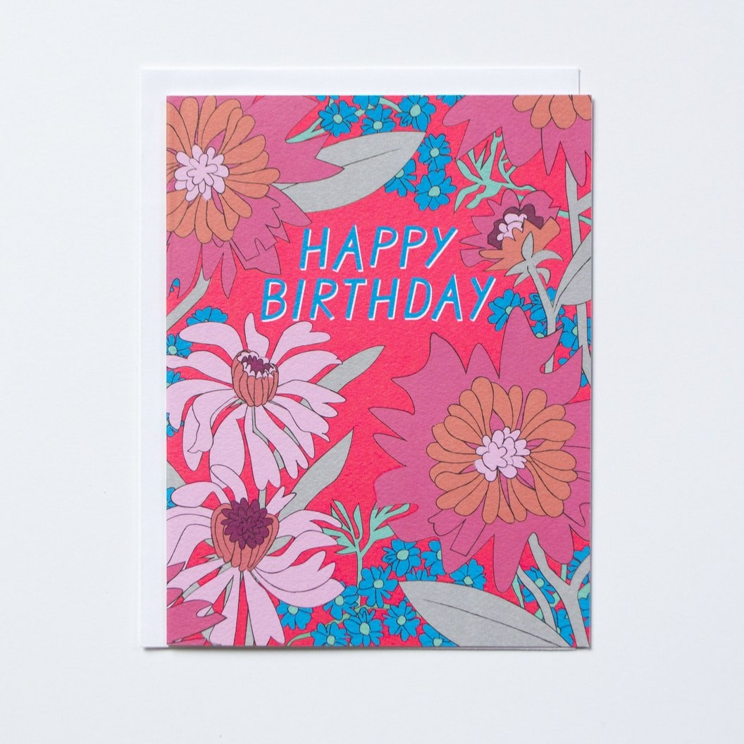 Banquet Happy Birthday 60s Floral Note Card