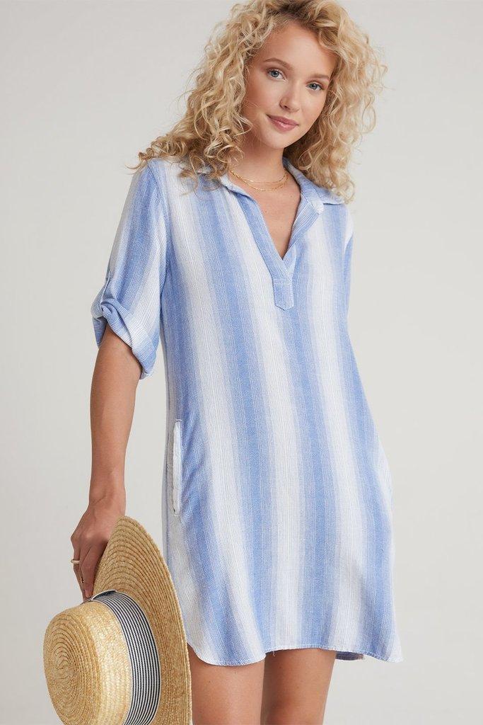 Bella Dahl A-Line Shirt Dress in Blue and White Stripe