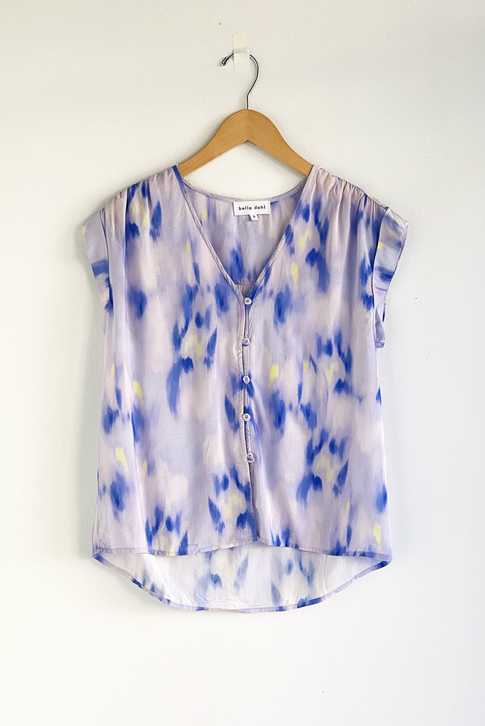 Bella Dahl Cap Sleeve Abstract Floral Shirt - Size L
