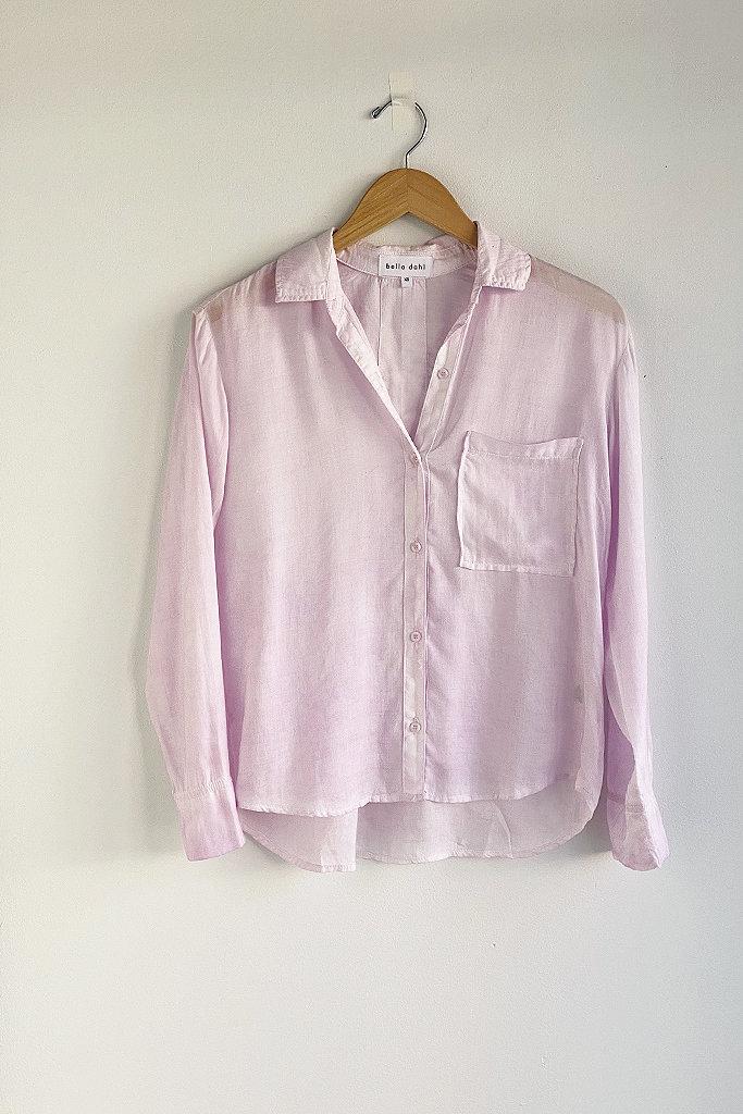 Bella Dahl Boxy Button Down Shirt in Rose Petal