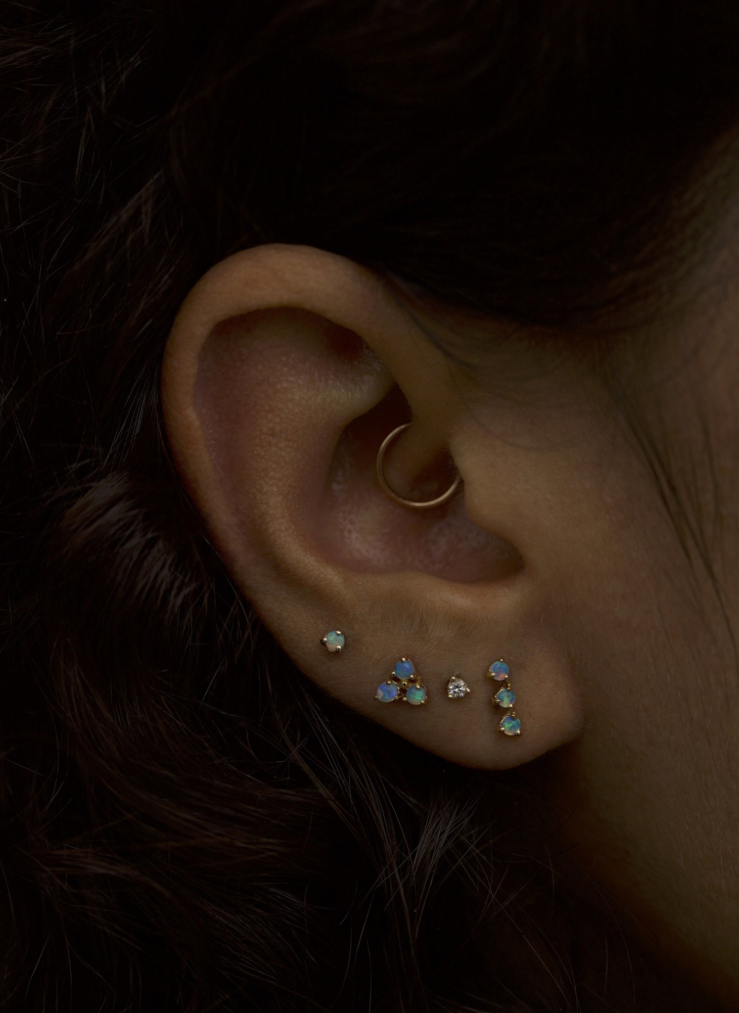 Three-Step Earrings with Opals