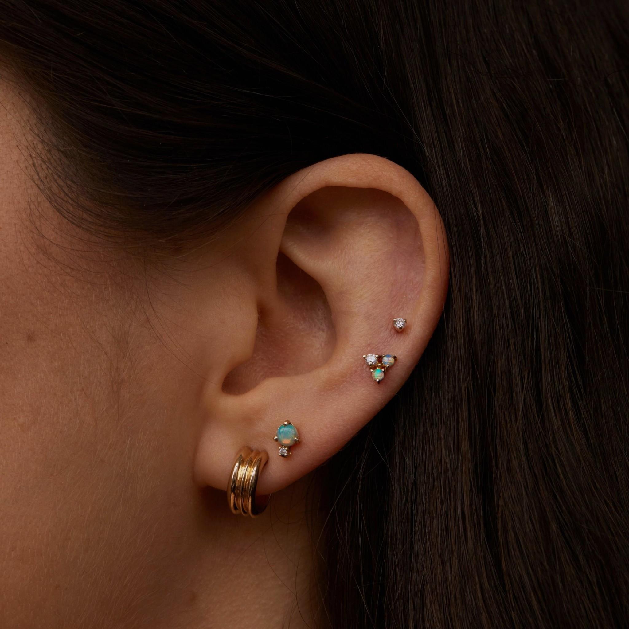 Classic Opal and Diamond Earrings