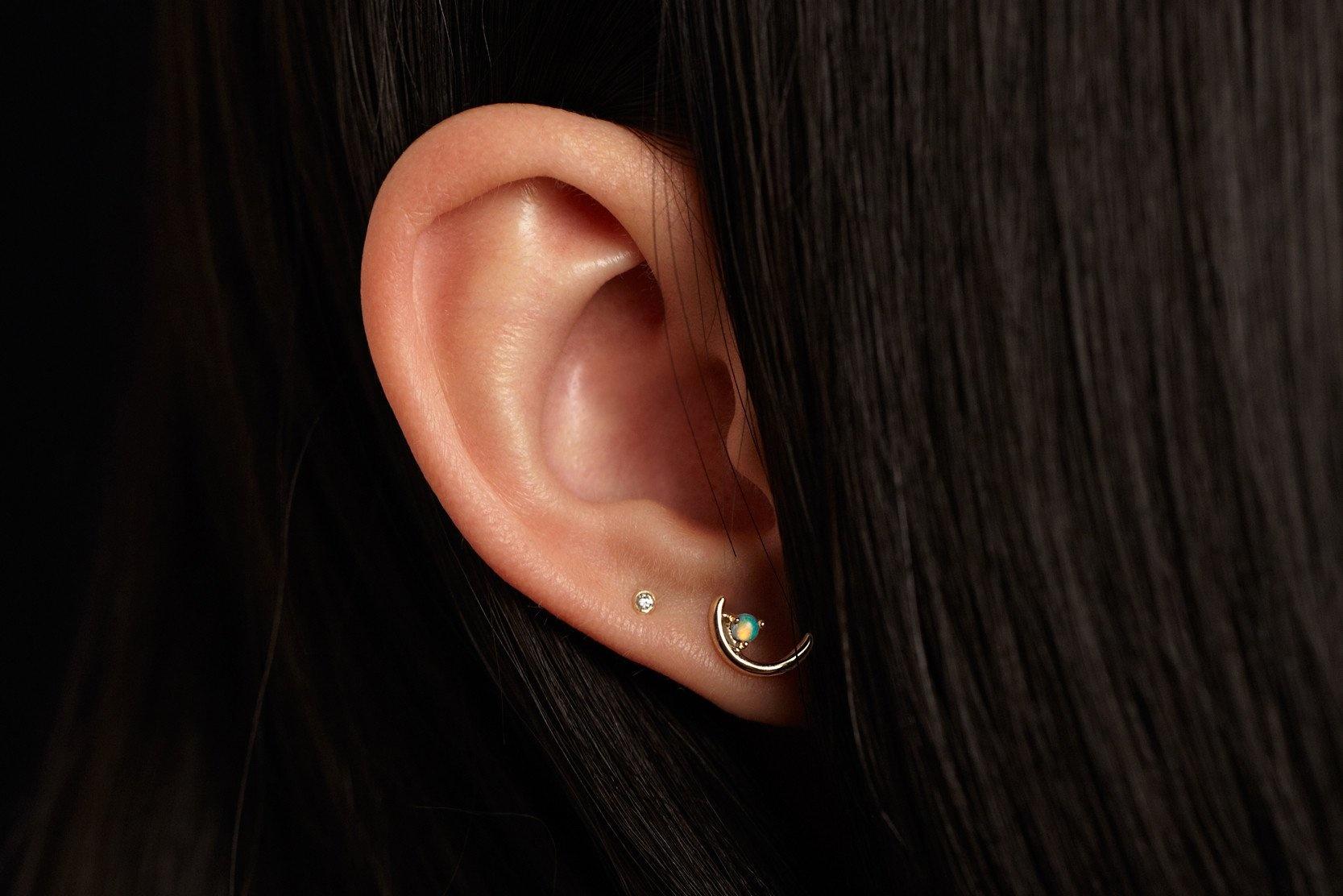 Offset Opal Arc Earrings Gold