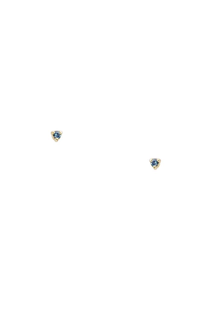 Small Dark Blue Sapphire Studs Gold