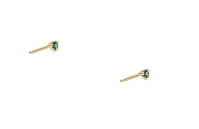 Small Teal Tourmaline Studs Gold