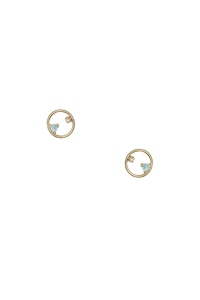 Mini Circle Earring with Opals