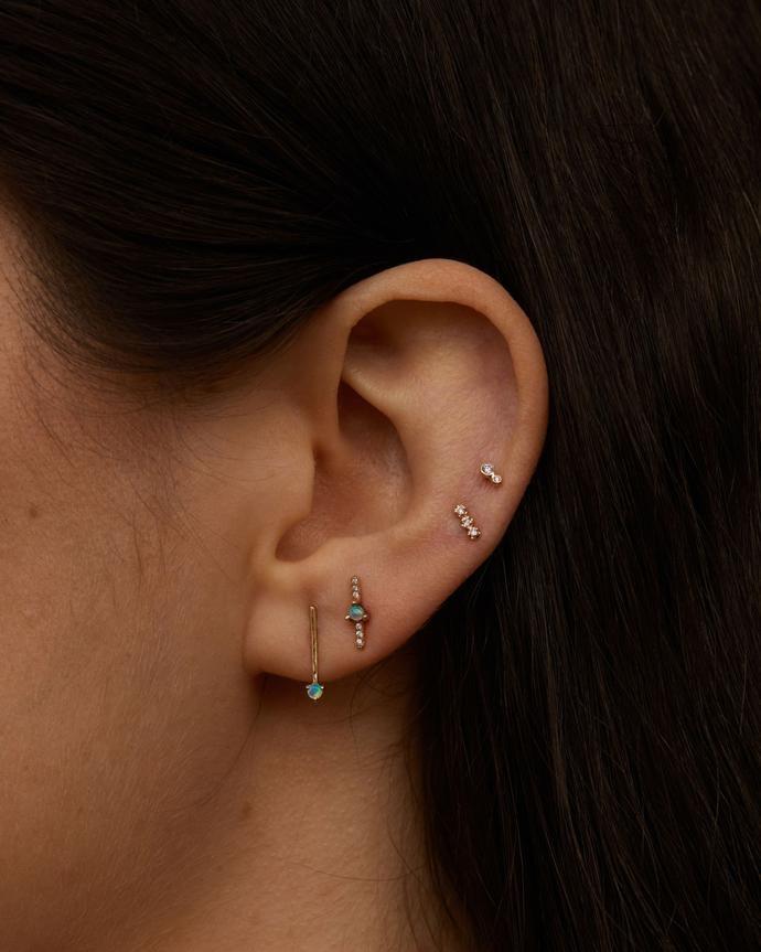 One-Step Bar Earrings - Opals