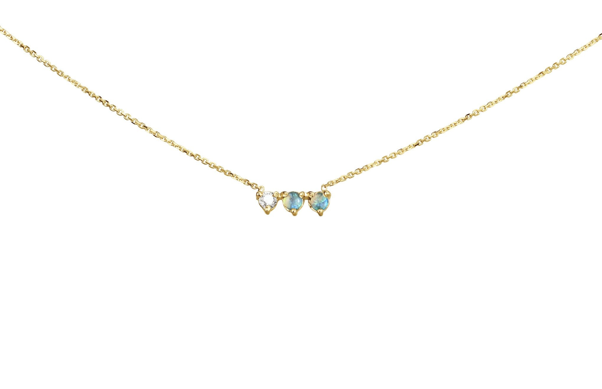 Three Points Necklace, 14KT , Opals
